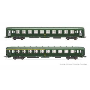 Jouef HJ4147 Set de 2 voitures voyageurs DEV AO, vert, portes grises, SNCF, A4c4B5C5 / B10c10, ep.IV