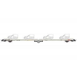 """Jouef HJ6205 Wagon plat 3 essieux Ladks STVA, chargé 4 Citroën 2CV """"La Poste"""" jaune"""