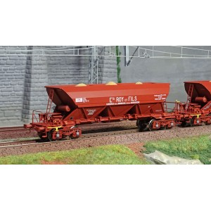 Ree modeles WB575 Set de 3 wagons Trémie EX Type 1, bogies, ROY&Fils / SIMOTRA, chargement sable