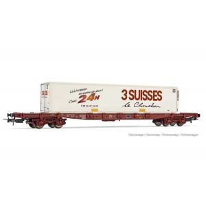 Jouef HJ6213 Wagon porte conteneur à bogies Sgss, chargé caisse 3 Suisses