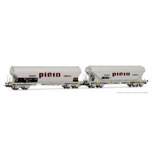 Jouef HJ6220 Set de 2 wagons trémies à bogies, SNCF, parois rondes et plates, livrée Piéto Lamballe