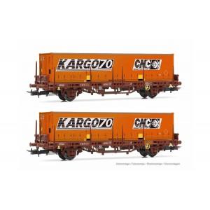Jouef HJ6224 Set de 2 wagons plats Lgs, SNCF, avec conteneurs CNC Kargo70