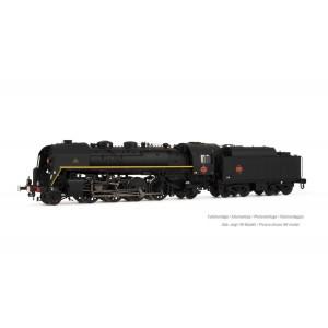 Arnold HN2484S Locomotive vapeur 141 R 840, SNCF, roues mixtes, livrée noire, ligne jaune, sonore