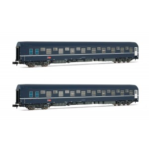 Arnold HN4343 Set de 2 wagons-lits T2, livrée bleu avec logo carmillon, échelle N