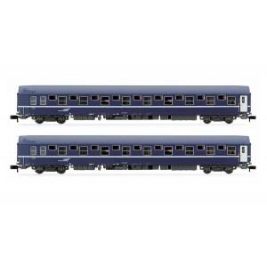 Arnold HN4342 Set de 2 wagons-lits T2, livrée bleu avec logo casquette, échelle N
