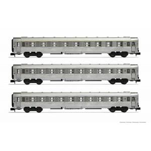 Arnold HN4335 Set de 3 voitures voyageurs DEV Inox, A9/B10/B10, échelle N