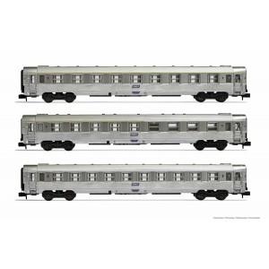 Arnold HN4338 Set de 3 voitures voyageurs DEV Inox, A9/A5/B10, logo encadré, échelle N