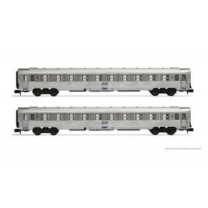 Arnold HN4337 Set de 2 voitures voyageurs DEV Inox, B10, logo encadré, échelle N
