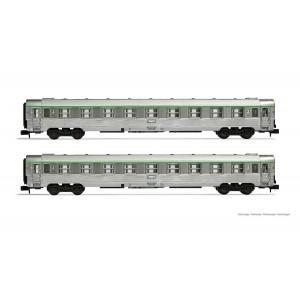 Arnold HN4340 Set de 2 voitures voyageurs DEV Inox, B9, logo encadré, échelle N