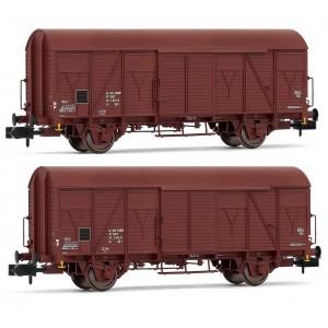 Arnold HN6515 Set de 2 wagons couverts à essieux, type G4, SNCF, échelle N