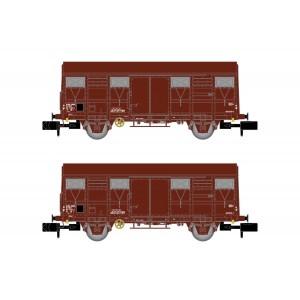 Arnold HN6516 Set de 2 wagons couverts à essieux, type G4 Permanex, SNCF, échelle N