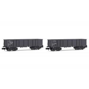 Arnold HN6535 Set de 2 wagons tombereaux, livrés gris, E79, SNCF, échelle N