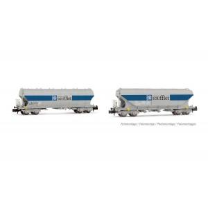 Arnold HN6510 Set de 2 wagons trémies à bogies type Uagpps avec parois plates et rondes, SNCF, Soufflet, échelle N