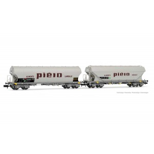 Arnold HN6511 Set de 2 wagons trémies à bogies type Uagpps, parois plates et rondes, SNCF, Piéto Lamballe, échelle N