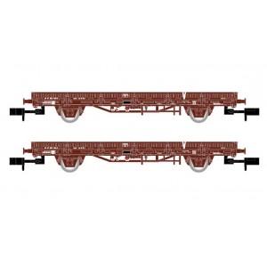 """Arnold HN6543 Set de 2 wagons plats à ridelles """"V"""", chargé de traverses en béton, échelle N"""