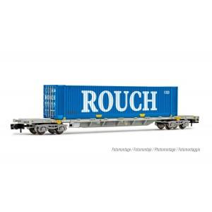 Arnold HN6531 Wagon porte conteneur 60', chargé conteneur Rouch 45', échelle N