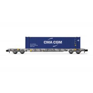 Arnold HN6458 Wagon porte conteneur 60' Novatrans type Sgss, chargé conteneur CMA CGM 45', échelle N