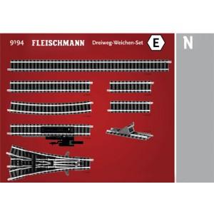 Fleischmann 9194 Set d'extension de voie E, avec aiguillage triple