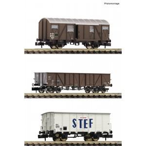 Fleischmann 880904 Set de 3 wagons, transport de marchandises, SNCF