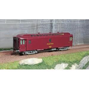 Ree Modeles VB251 Voiture postale ambulant OCEM 16m, PAZ brun PTT, châssis gris, SNCF