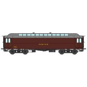Ree Modeles VB252 Voiture postale Allège OCEM 16m, PEZ brun PTT, toit gris, châssis noir, SNCF