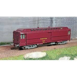 Ree Modeles VB257 Voiture postale Allège Pantin, PEZ brun PTT, châssis gris, sans soufflet, SNCF