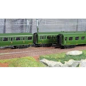 LS Models 40322 Set de 3 voitures Express Nord A3B4/B9/C11 livrée vert, châssis noir, inscription Nord, ep. II
