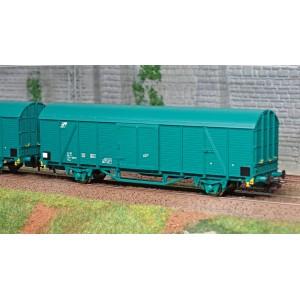 Os.Kar 4213 Set de 3 wagons couverts, Hbccqs-w, livrés verts, FS
