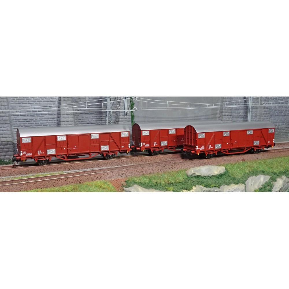 Os.Kar 4216 Set de 3 wagons couverts, Gbhs / Hbchs, livrés bruns, toit gris, FS