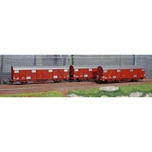 Os.Kar 4217 Set de 3 wagons couverts, Gbhs, livrés bruns, toit gris, FS