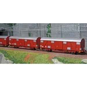 Os.Kar 4220 Set de 4 wagons couverts, Gbhs, livrés bruns, toit gris, FS