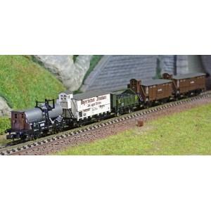 "MiniTrix 15284 Set de 5 wagons marchandise ""Pfalz"" (Palatinat), K.Bay.Sts.B., échelle N"