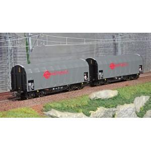Roco 76039 Set de 2 wagons à bâche coulissante à bogies, ERMEWA