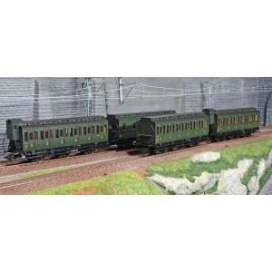 Marklin 42042 Set de 4 voitures à compartiments, types prussiens, 3 essieux, SNCF