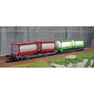 Roco 77388 Wagon-poche articulé double T3000e, CEMAT, chargés conteneurs-citernes,