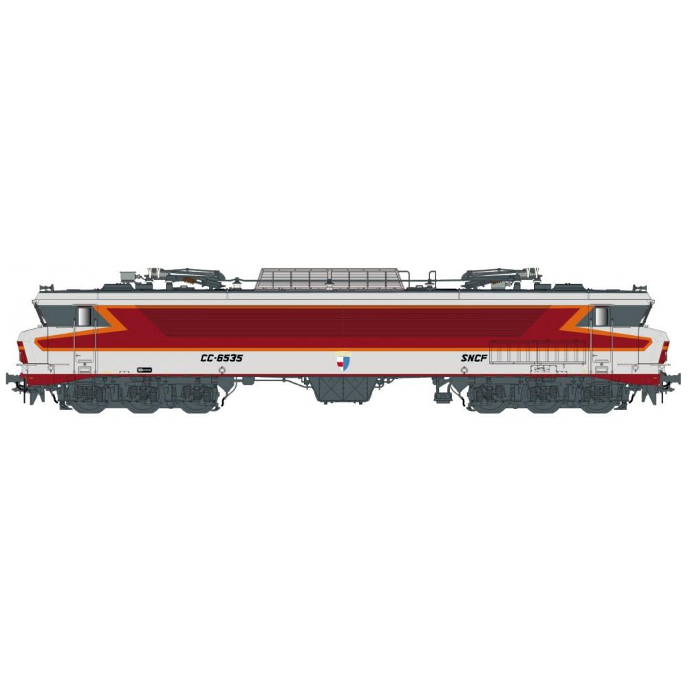 Ls Models 10331S Locomotive électrique CC 6535 SNCF, gris métallisé, livrée Arzens, logo Beffara, Lyon-Mouche, Digital sonore