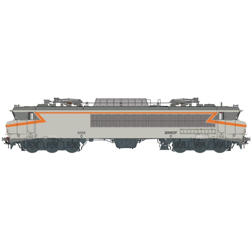 Ls Models 10333 Locomotive électrique CC 6568 SNCF, gris béton, orange, logo nouille, Lyon-Mouche