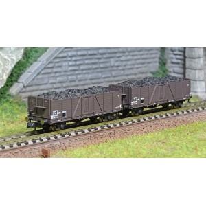 Arnold HN6491 Set de 2 wagons tombereaux type Tow, chargé charbon, SNCF, échelle N