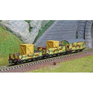 Arnold HN6490 Set de 3 wagons plats et couvert, DR, militaire, chargés caisses, échelle N