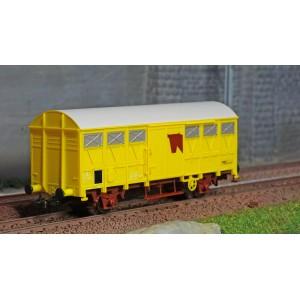 Jouef HJ6189 Wagons couverts à essieux type Gs, SNCF, jaune, transport de bétail