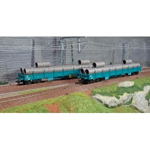 Marklin 47107 Set de 2 wagons plats à bogies à ridelles basses Res, Trenitalia (FS)
