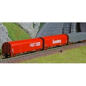 MiniTrix 15115 Set de 3 wagons à bâches coulissantes type Rilns, SNCF, Kronenbourg, Fret, échelle N