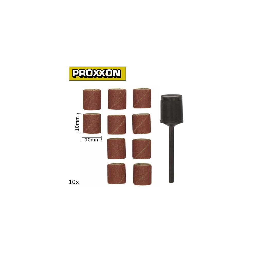 Cylindres abrasifs en corindon 10mm grain 150 (x10) + support Proxxon 28980