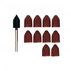 Cylindres abrasifs forme capuchon 9mm grain 80 et 150 (x10) + support Proxxon 28987