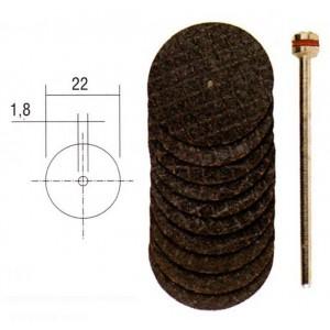 Disques à tronçonner armés en oxyde d'aluminium 22mm (x10) + support Proxxon
