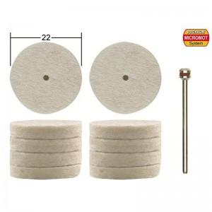 Disque à polir en feutre, Ø 22 mm, 10 pièces +1 tige Proxxon 28798