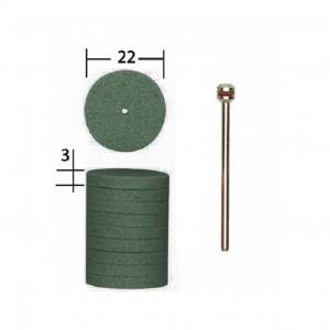 Meules en carbure de silicium, forme disque, Ø 22mm (x10) + 1 tige Proxxon