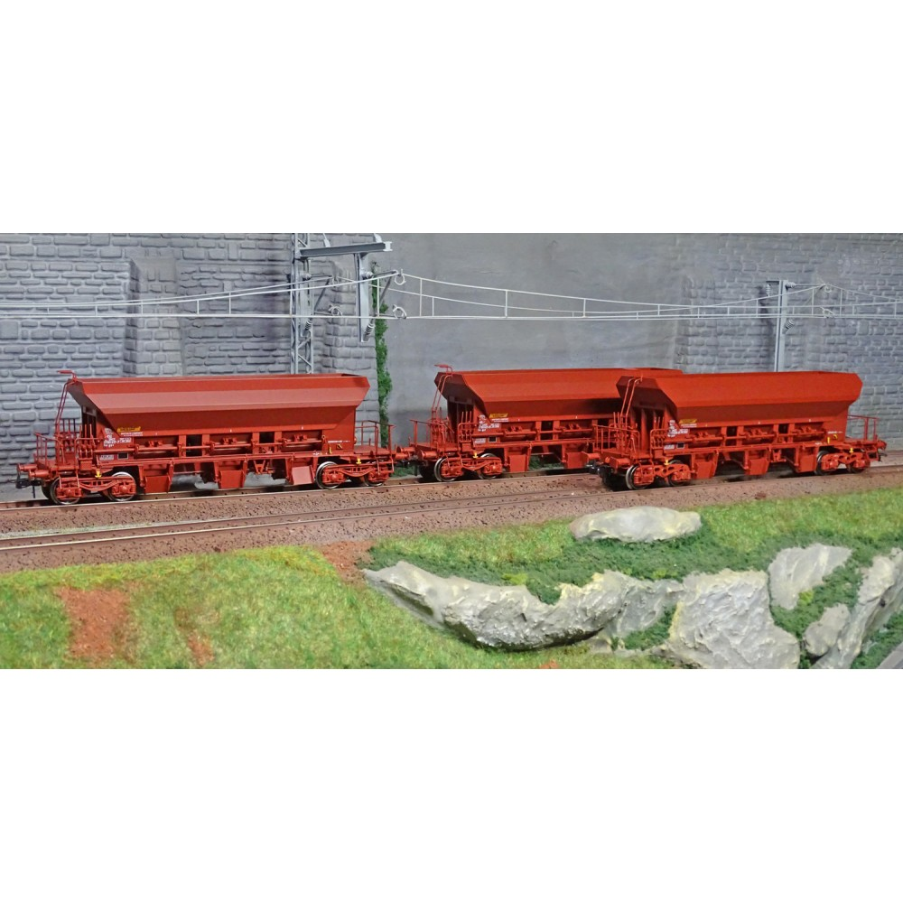 Ree modeles WB682 Set de 3 wagons trémie à Ballast F70 Uas, SNCF, ep. IV-V