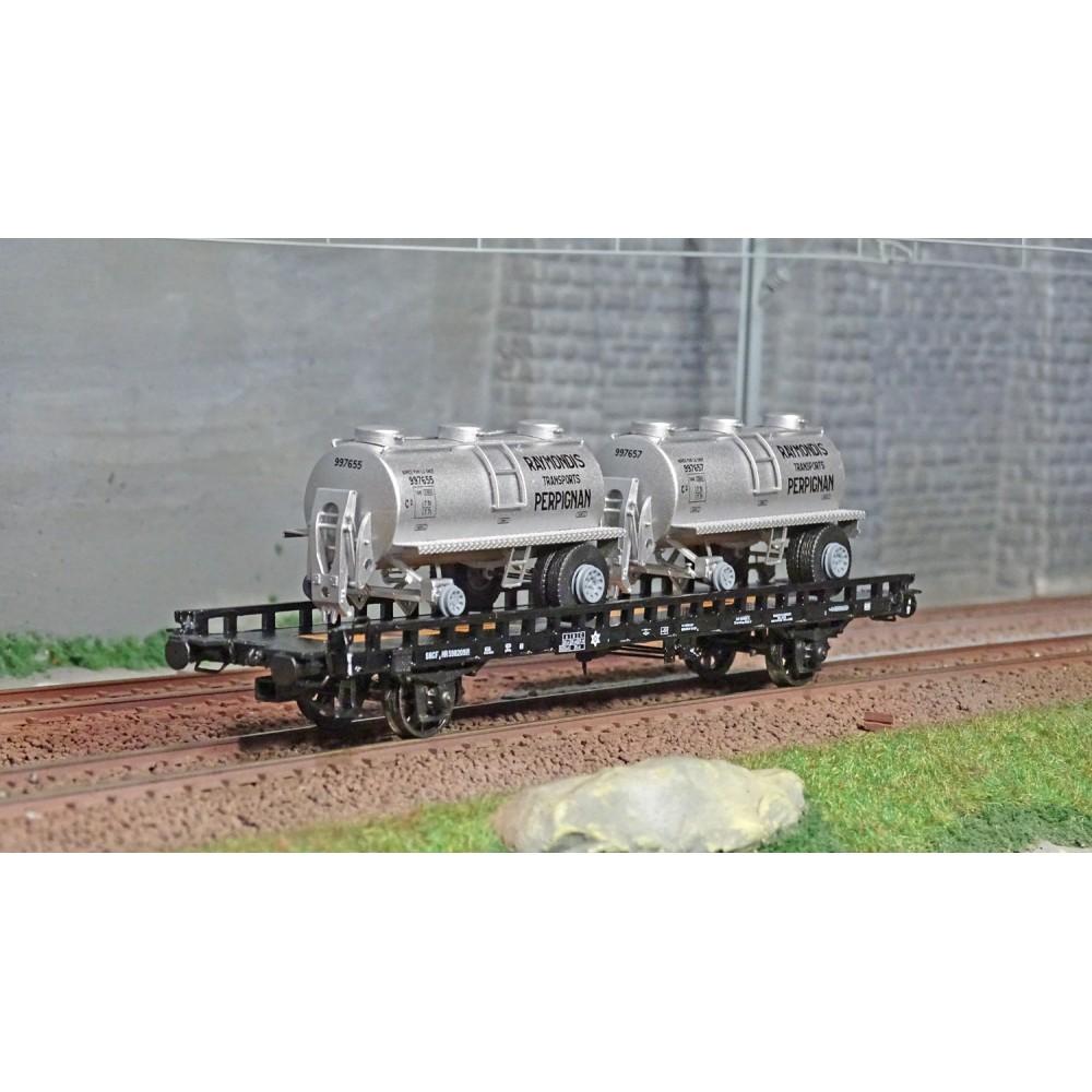 Ree modeles WB615 Wagon UFR Biporteur noir, remorques citernes rondes RAYMONDI