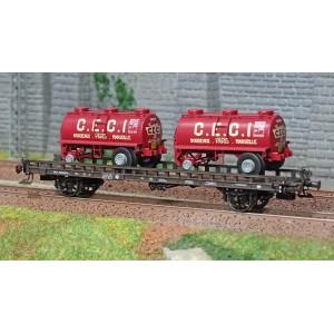 Ree modeles WB614 Wagon UFR Biporteur brun, remorques citernes rondes CECI